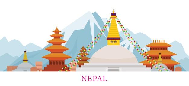 Nepal skyline oriëntatiepunten