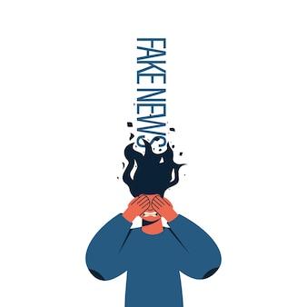 Nepnieuws en propagandaconcept vrouw met gesloten ogen met zijn handen emotie van woede of angst