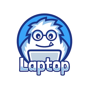 Nerd mascotte yeti programmeur werkt aan het laptoplogo-ontwerp