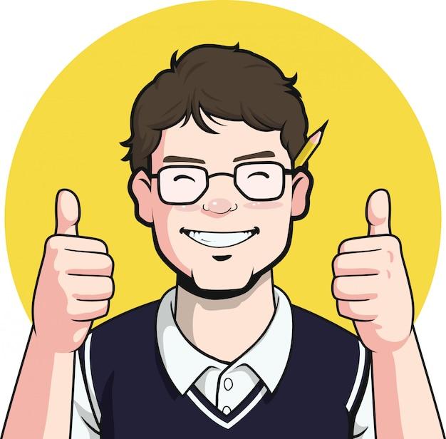 Nerd-schrijver guy mascot - duim omhoog