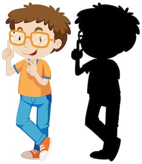 Nerdy jongen in kleur en silhouet
