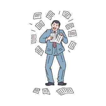 Nerveus woedende zakenman in stress scheurt documenten, schets cartoon geïsoleerd op een witte achtergrond. werk chaos en deadlines op kantoor.