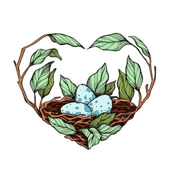 Nest op een tak hand getrokken illustratie.