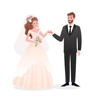 Net getrouwd gelukkig man vrouw tekens staan samen, dag feest bruiloft