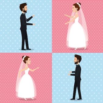 Net getrouwd stel foto's ingesteld