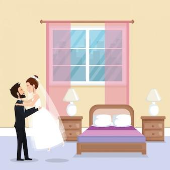 Net getrouwd stel in de slaapkamer