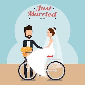 Net getrouwd stel in fiets avatars karakters
