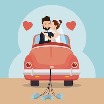 Net getrouwd stel met auto avatars karakters