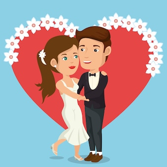 Net getrouwd stel met harten avatars karakters