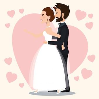 Net getrouwd stel met harten avatars tekens