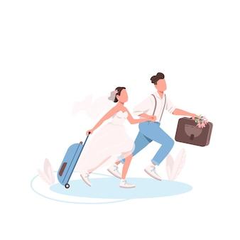 Net getrouwd stel met koffers egale kleur gezichtsloze karakters