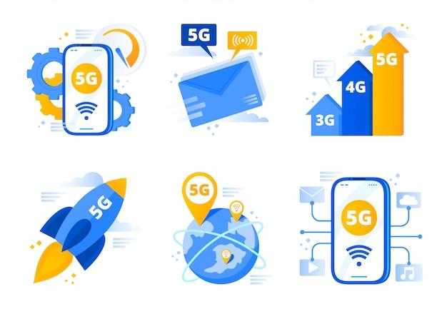 Netwerk 5g. vijfde generatie telecommunicatie, snelle internetverbinding snelheid en lage latentie netwerken vector illustratie set
