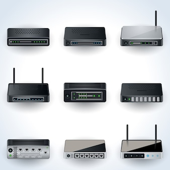 Netwerk apparatuur pictogrammen. modems, routers, hubs realistische vector illustraties collectie