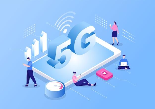 Netwerk draadloze technologie smartphone vectorillustratie