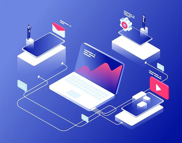 Netwerk en affiliate marketing concept. aanbevelingsprogramma's zakelijke klanten aanbeveling. internet omzet isometrische achtergrond