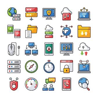Netwerk en communicatie pictogrammen