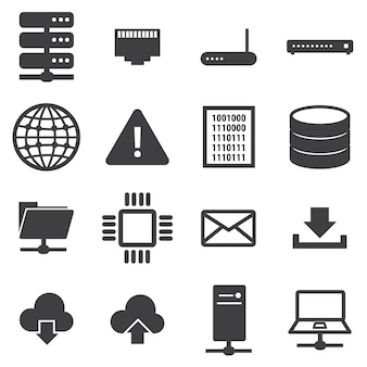 Netwerk en server icon set