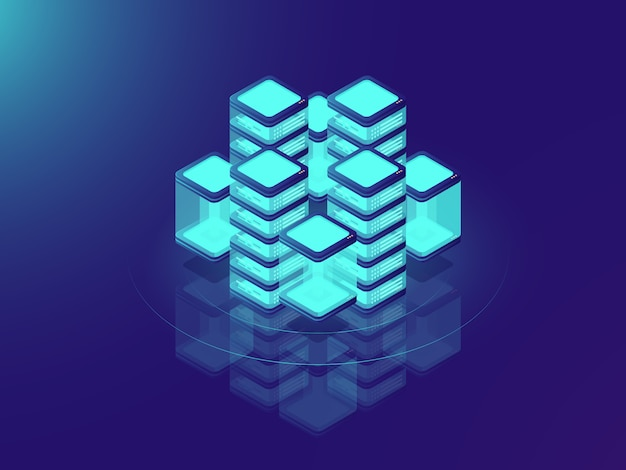 Netwerk- of mainframe-infrastructuur, serverruimte en datacenter