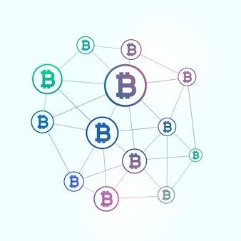 Netwerk van blockchain bitcoins achtergrond