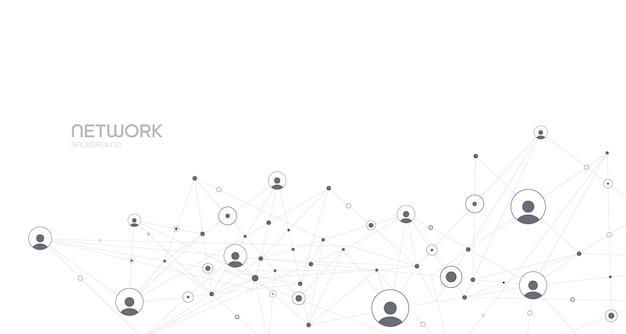 Netwerkachtergrondverbindingen met puntenlijnen en mensenpictogrammen vectorillustratie