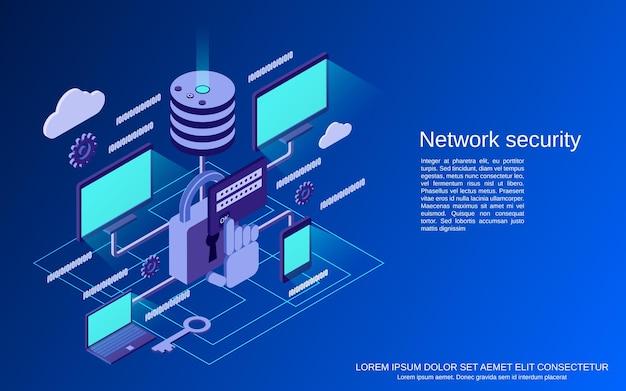Netwerkbeveiliging, gegevensbescherming platte isometrische concept illustratie