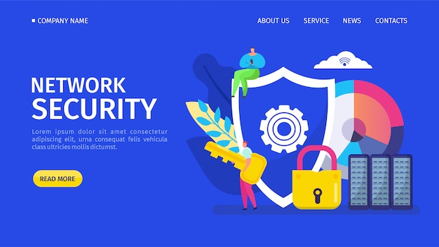 Netwerkbeveiliging landing illustratie. programma dat computervirussen detecteert en geïnfecteerde bestanden of besturingssysteem herstelt
