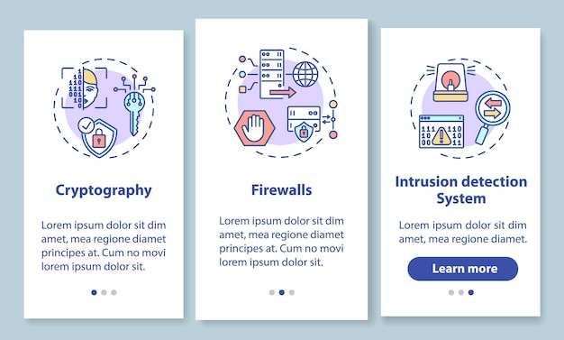 Netwerkbeveiliging onboarding mobiele app-paginascherm met concepten