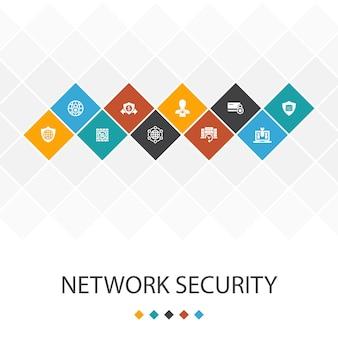 Netwerkbeveiliging trendy ui sjabloon infographics concept.privé netwerk, online privacy, back-upsysteem, pictogrammen voor gegevensbescherming