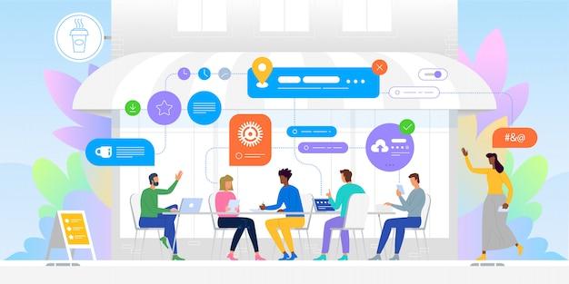 Netwerken concept. groep vrienden in café. gemeenschap en internet concept
