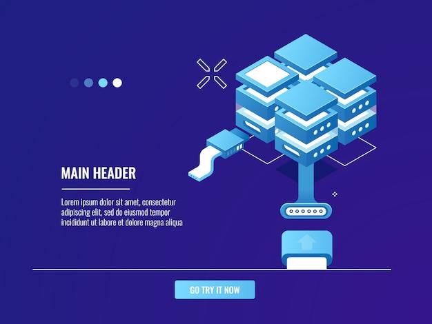 Netwerken, internetverbinding, serverruimte-rack, datacenter, cloudopslag