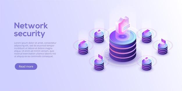 Netwerkgegevensbeveiliging isometrisch. online serverbeveiligingssysteemconcept met datacenter of blockchain.