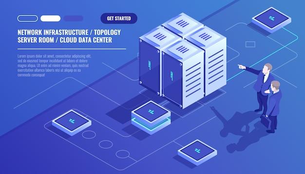 Netwerkinfrastructuur, serverruimte-topologie, cloud-datacenter, twee zakenman