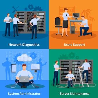 Netwerkingenieur en het het conceptenreeks van het beheerdersontwerp van de gebruikersondersteuning van de netwerkdiagnostiek en de vectorillustratie van serveronderhoudselementen