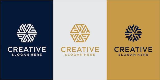 Netwerklogo. geometrische branding logo. abstracte technologie logo. digitaal embleem. ontwerp gemeenschapslogo instellen