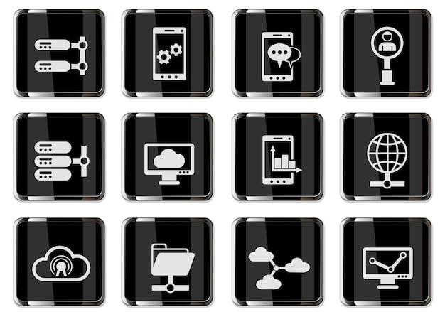 Netwerkpictogrammen in zwarte chromen knoppen. pictogrammenset voor gebruikersinterfaceontwerp