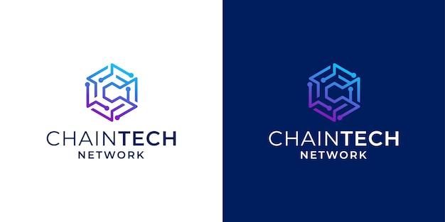 Netwerktechnologie blockchain met initiële c-logo-ontwerpinspiratie