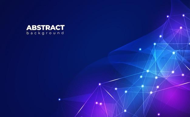 Netwerkverbinding achtergrond. met low poly, dot, circle, line, light. digitale technologie achtergrond