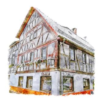 Neuberg ravolzhausen duitsland aquarel schets hand getrokken illustratie