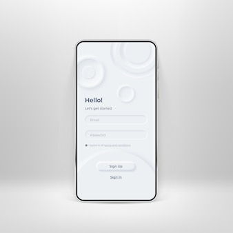 Neumorfe gebruikersinterface-kit op smartphonescherm. login en registratieformulier op witte smartphonemalplaatje. invoerveld voor registratie en aanmelding op de telefoon. mobiele interface-app. ui-sjabloon