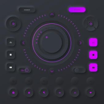 Neumorfisch ontwerp gebruikersinterface-elementen