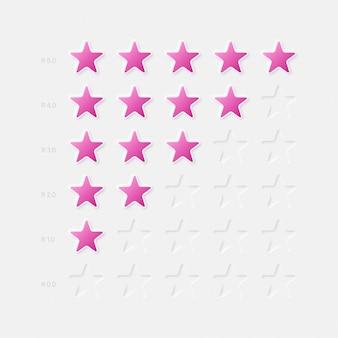 Neumorfisch ontwerp ui ux-componenten roze sterren vijfpuntsclassificatiesysteem op witte achtergrond