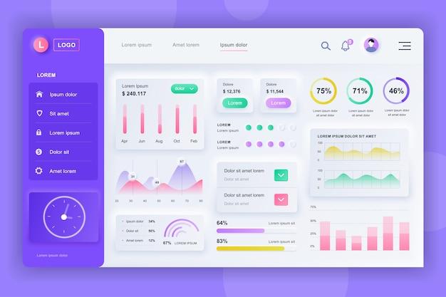 Neumorphic dashboard ui-kit. admin-paneelsjabloon met infographic elementen, hud-diagram, info-afbeeldingen. website dashboard voor ui en ux design webpagina. neumorfisme stijl.