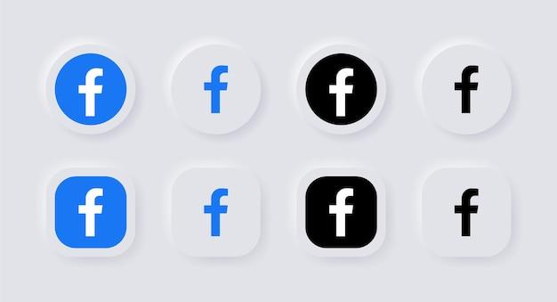 Neumorphic facebook logo icoon voor populaire social media iconen logo's in neumorphism buttons ui ux