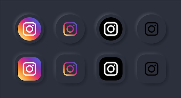 Neumorphic instagram logo icoon in zwarte knop voor social media iconen logo's in neumorphism buttons