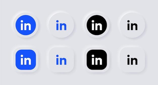 Neumorphic linkedin logo icoon voor populaire social media iconen logo's in neumorphism buttons ui ux