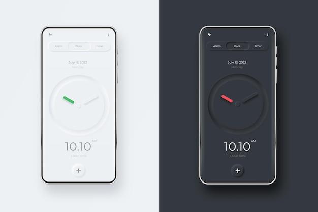 Neumorphic ui kit op smartphonescherm. klok op zwart-wit smartphone sjabloon. mobiele interface-app.