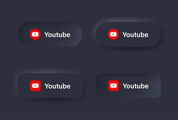 Neumorphic youtube-logopictogram in zwarte knop voor sociale media-pictogrammen logo's in neumorphism-knoppen