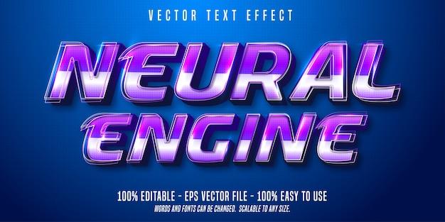 Neural engine-tekst, bewerkbaar teksteffect in technologische stijl