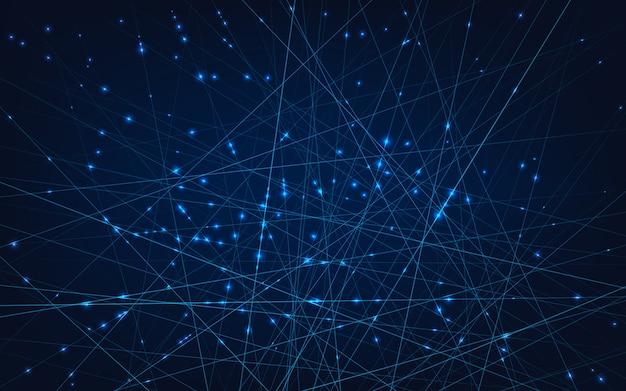 Neurale netwerken. lijnen en knooppunten verbonden in cellen.