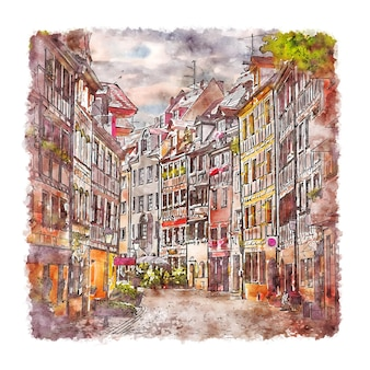 Neurenberg duitsland aquarel schets hand getrokken illustratie
